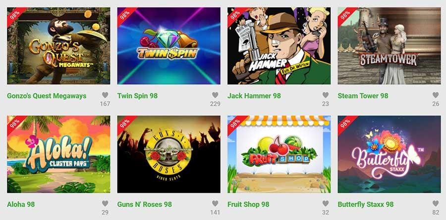 Unibet Casino best betalende gokkasten 98% RTP
